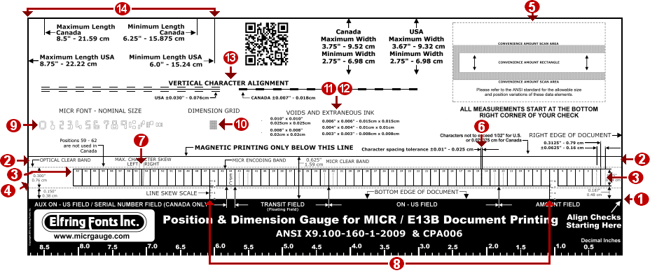 MICR check position gauge