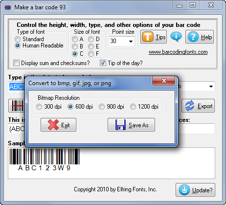 Software to export bar code 93 bar code graphics