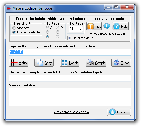 Click to see the Codabar font software utility that comes with this package