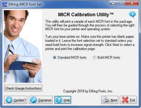 Click to see the MICR calibration utility that comes with this software package