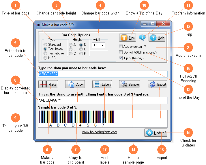 Make a Bar Code 39 or HIBC Utility from Elfring Fonts
