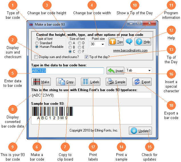 Software to build bar code 93 bar codes