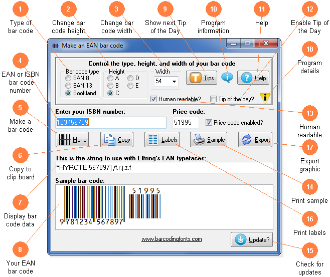 Software utility to make an EAN or Bookland bar code